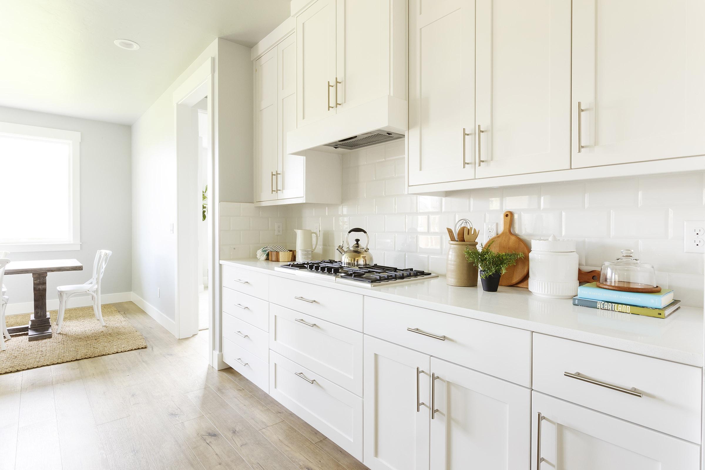 white tile backsplash in kitchen